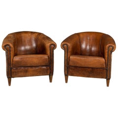 20th Century Pair of Dutch Sheepskin Leather Tub Armchairs