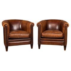 20th Century Pair of Dutch Sheepskin Leather Tub Chairs