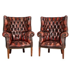 20th Century Pair of English Leather Barrel Back Armchairs c.1970
