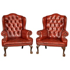 20th Century Pair of English Leather Wingback Armchairs, circa 1970