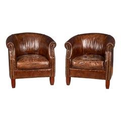 20th Century Pair of English Sheepskin Leather Tub Chairs