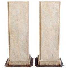 20th Century Pair of Faux Stone Pedestals