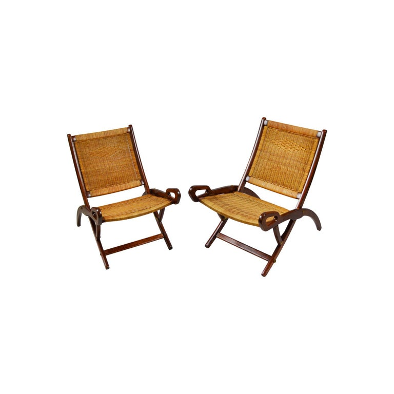 Mid-Century Modern 20th Century Pair of Folding Armchairs Model Ninfea by Gio Ponti Wood and Reed