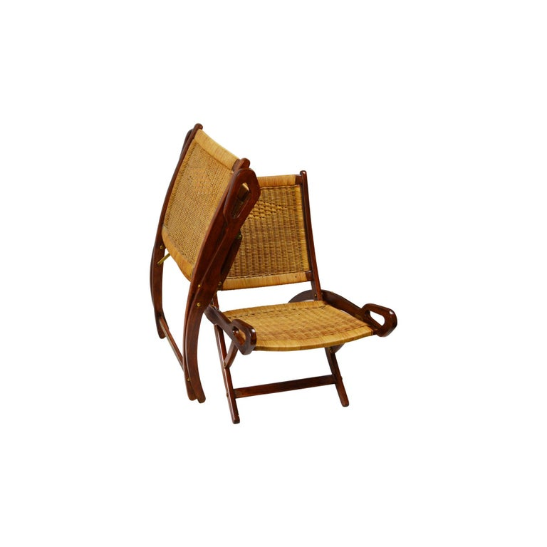 Italian 20th Century Pair of Folding Armchairs Model Ninfea by Gio Ponti Wood and Reed