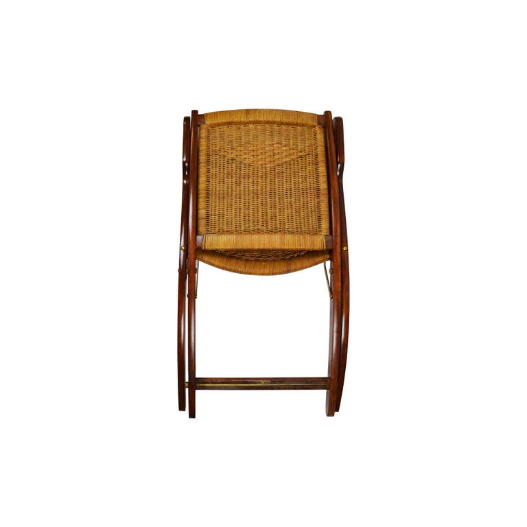20th Century Pair of Folding Armchairs Model Ninfea by Gio Ponti Wood and Reed In Good Condition In Turin, IT