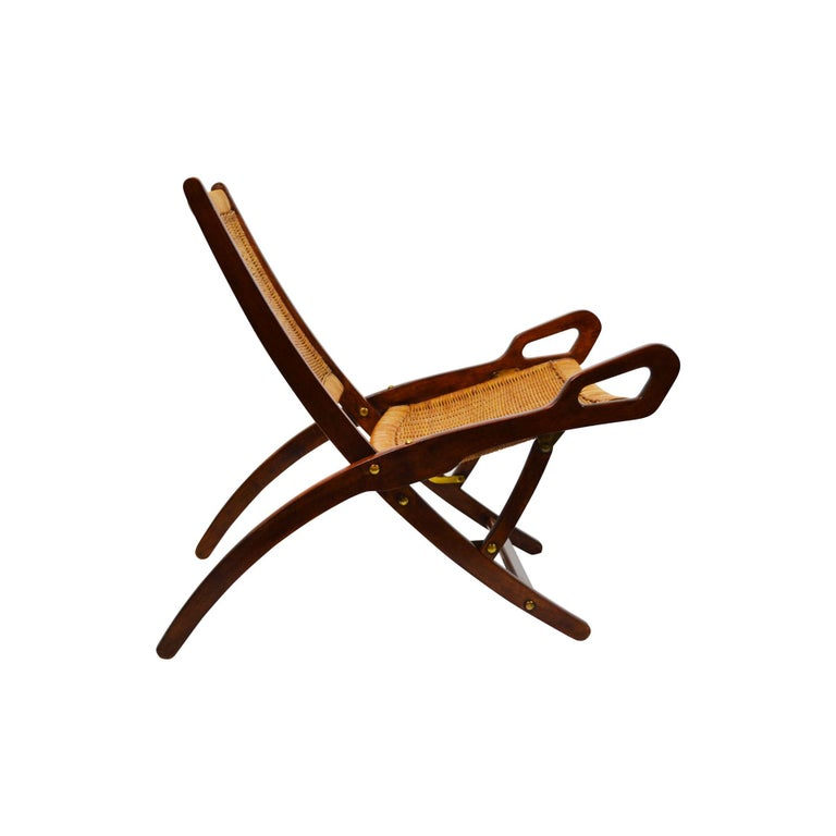 Mid-20th Century 20th Century Pair of Folding Armchairs Model Ninfea by Gio Ponti Wood and Reed