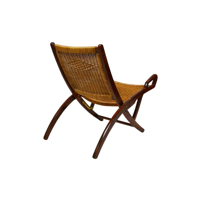 Brass 20th Century Pair of Folding Armchairs Model Ninfea by Gio Ponti Wood and Reed