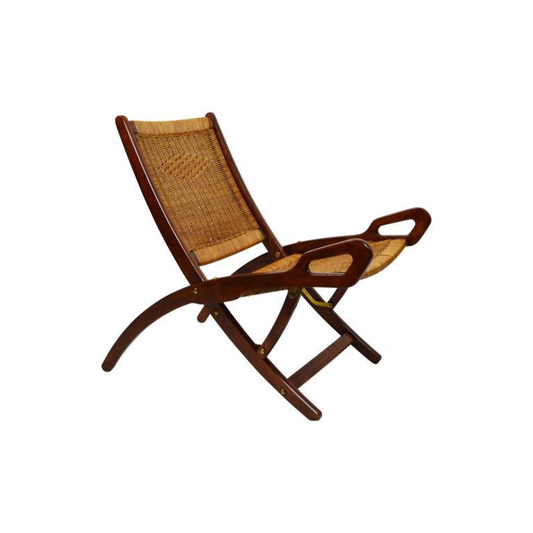 20th Century Pair of Folding Armchairs Model Ninfea by Gio Ponti Wood and Reed 1