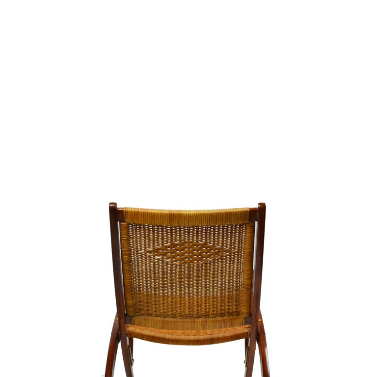 20th Century Pair of Folding Armchairs Model Ninfea by Gio Ponti Wood and Reed 2