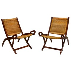 20th Century Pair of Folding Armchairs Model Ninfea by Gio Ponti Wood and Reed