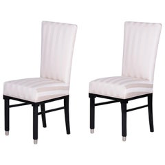 20th Century Pair of French Art Deco Chairs, Black Lacquer, New Upholstery 1920s