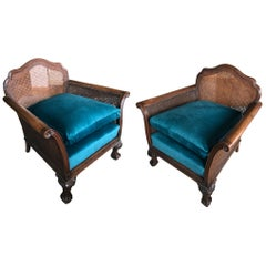20th Century Pair of French Blue Hand Carved Neoclassical Wood Cane Armchairs