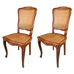 20th Century Pair of French Carved Walnut Chairs in Style of Louis XV