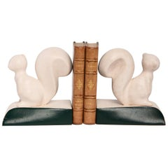 20th Century Pair of French Ceramic Squirrels Bookends