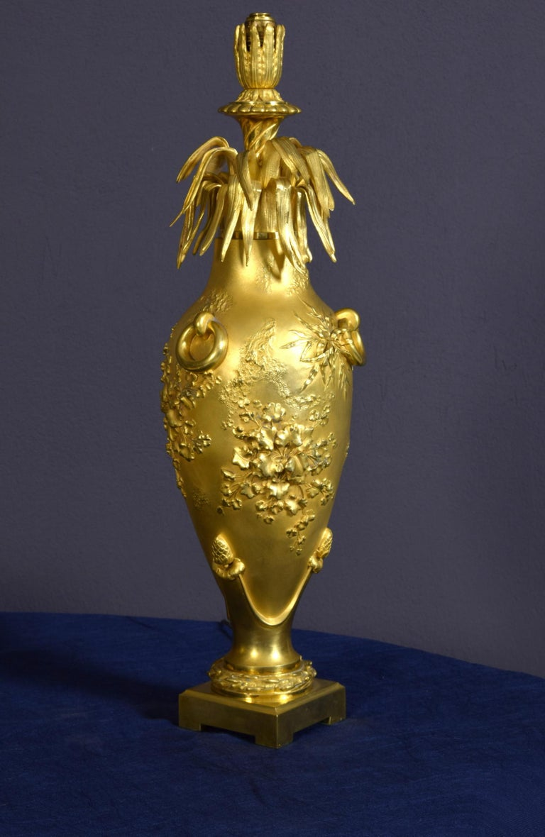 20th Century Pair of French Chiselled and Gilt Bronze Lamps For Sale 7