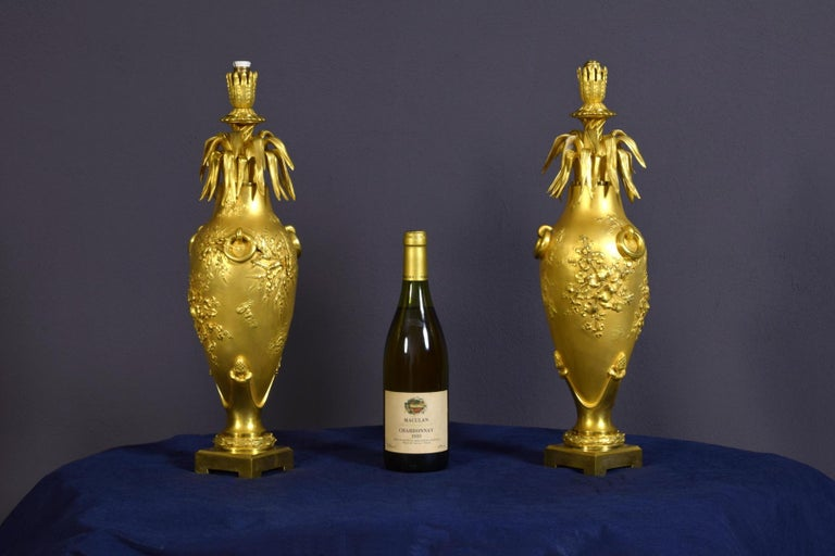 20th Century Pair of French Chiselled and Gilt Bronze Lamps For Sale 10