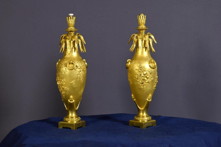 20th Century Pair of French Chiselled and Gilt Bronze Lamps For Sale 11