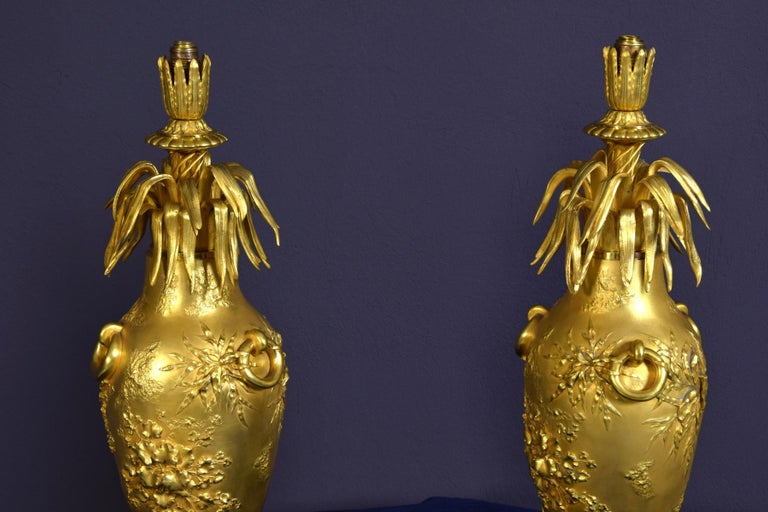 20th Century Pair of French Chiselled and Gilt Bronze Lamps For Sale 3