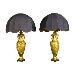 20th Century Pair of French Chiselled and Gilt Bronze Lamps