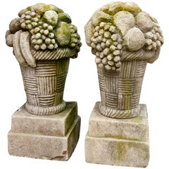 20th Century Pair of French Fruit Basket Finials in Hand Carved Limestone