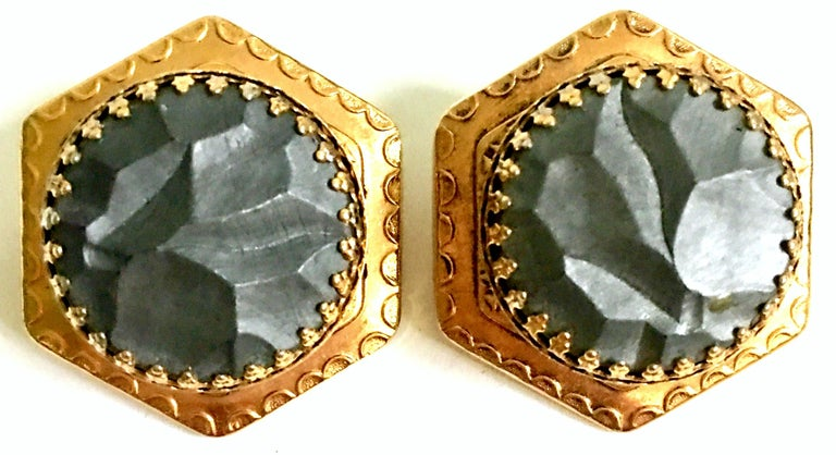 20th Century Pair Of French Gold Organic Modern Earrings By, Zoe Coste In Good Condition For Sale In West Palm Beach, FL