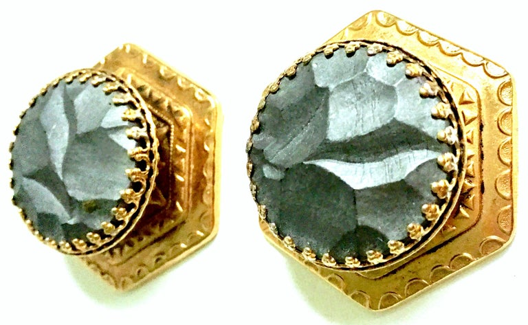 Women's or Men's 20th Century Pair Of French Gold Organic Modern Earrings By, Zoe Coste For Sale
