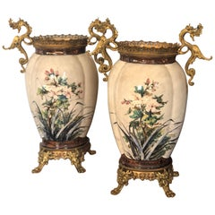 20th Century Pair of French Hand Painted Ceramic Vases with Brass Decoration