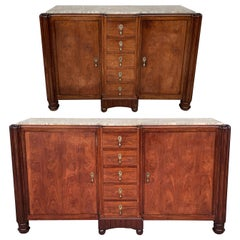 20th Century Pair of French Mahogany and Macassar Art Deco Sideboards