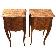 20th Century Pair of French Marquetry Louis XV Style Stamped Bedside, 1950s