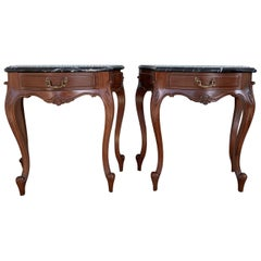 20th Century Pair of French Nightstands with One-Drawer and Black Top Marble