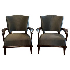 20th Century Pair of French Oakwood Armchairs by Etienne-Henri Martin