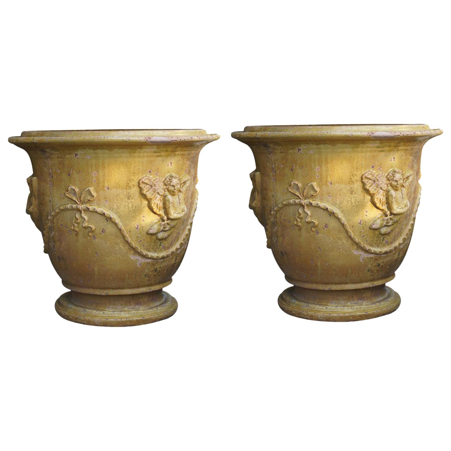 20th Century Pair of French Yellow Anduze Planter Planters from Provence