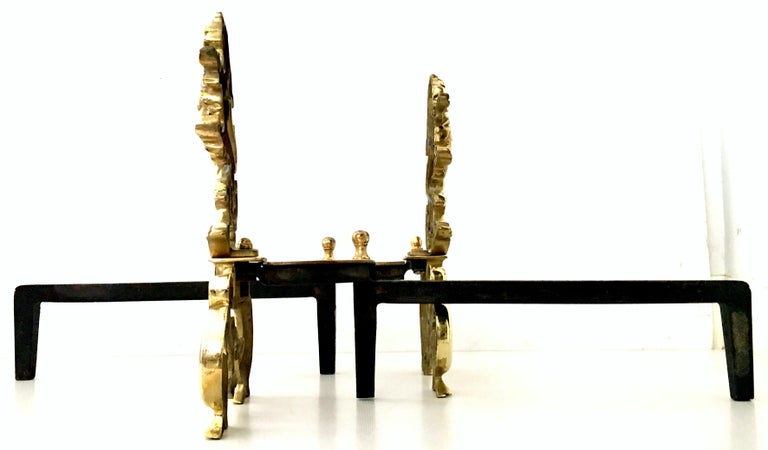 20th Century Pair of Georgian Solid Brass and Iron