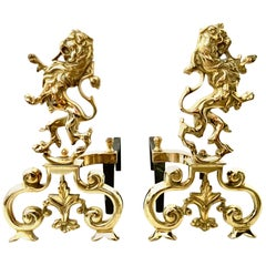 "20th Century Pair of Georgian Solid Brass and Iron ""Rampant Lion"" Andirons"