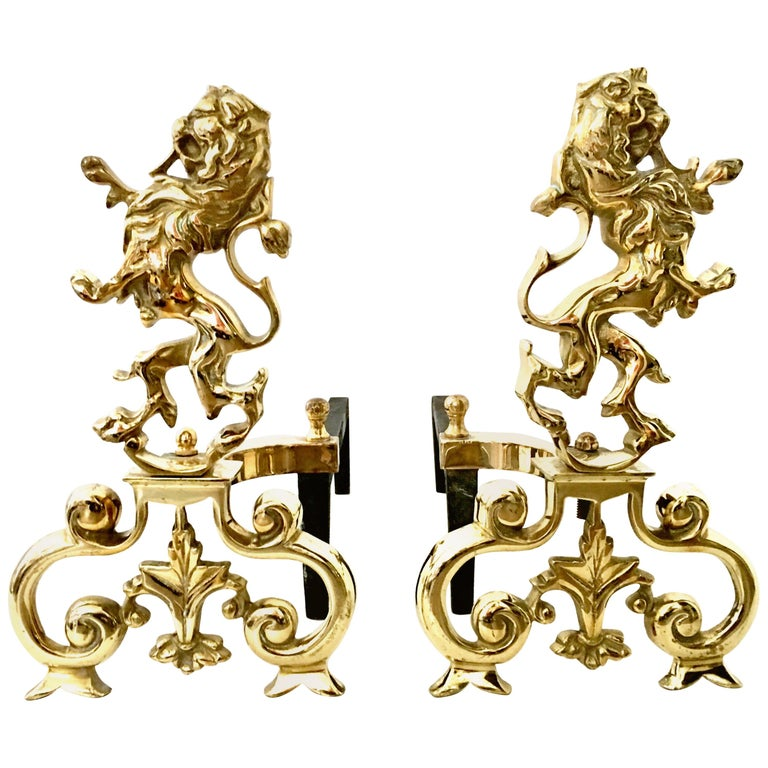 """20th Century Pair of Georgian Solid Brass and Iron """"Rampant Lion"""" Andirons For Sale"""
