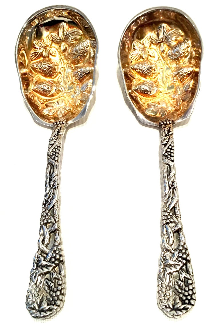 20th Century Pair Of Godinger For Neiman Marcus Silver Plate Serving Spoons S/2. Includes the original green velvet Neiman Marcus logo gift box and care card. New or like new. 