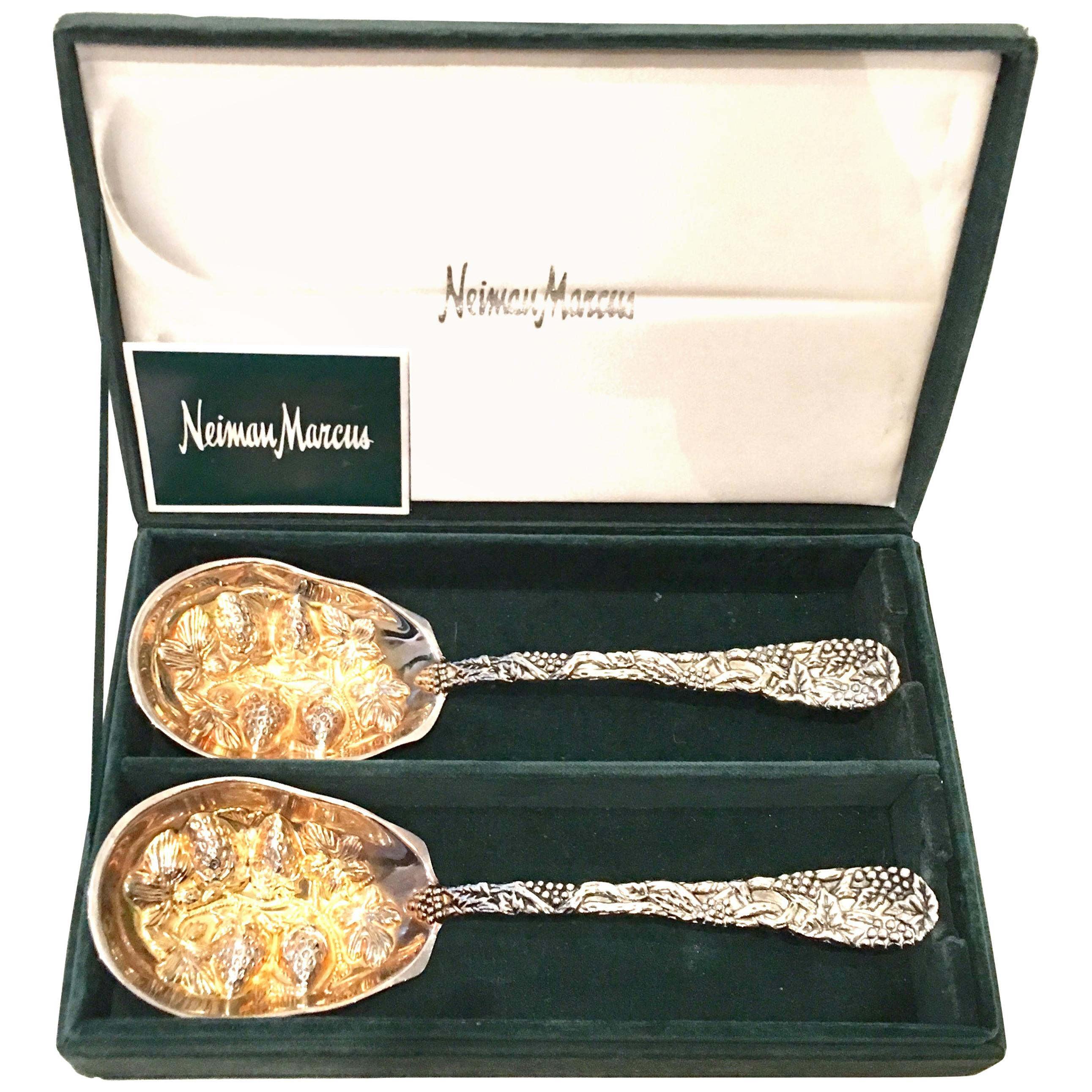 20th Century Pair of Godinger for Neiman Marcus Silver Plate Serving Spoons S/2