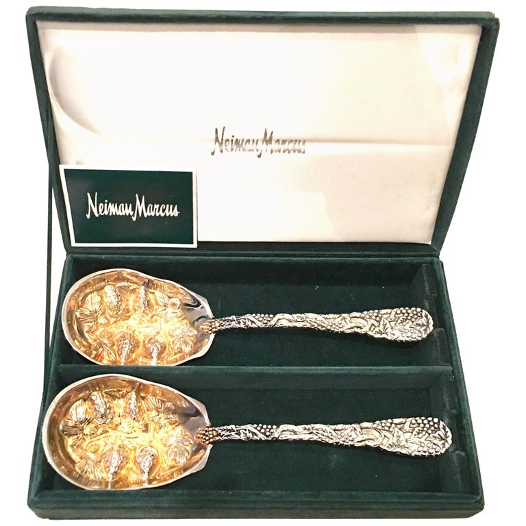 20th Century Pair of Godinger for Neiman Marcus Silver Plate Serving Spoons S/2 For Sale