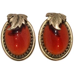 20th Century Pair Of Gold & Amber Art Glass Earrings By, Whiting & Davis