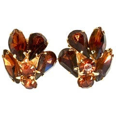 20th Century Pair Of Gold & Amber Crystal Abstract Floral Earrings By, Juliana