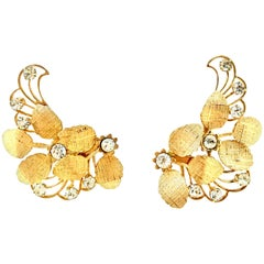 20th Century Pair Of Gold & Austrian Crystal Abstract Floral Earrings