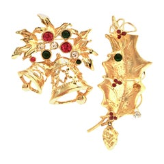 20th Century Pair of Gold & Austrian Crystal Christmas Brooch's Set Of Two