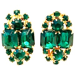 20th Century Pair Of Gold & Austrian Crystal Earrings