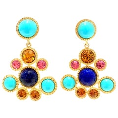 20th Century Pair Of Gold Chandelier Earrings By Kenneth Jay Lane