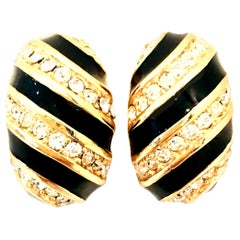 20th Century Pair Of Gold, Enamel & Austrian Crystal Earrings By, Christian Dior