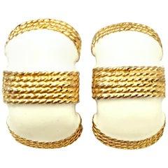 20th Century Pair Of Gold & Enamel Earrings By, Gay Boyer