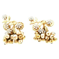 20th Century Pair Of Gold Enamel & Faux Pearl Dangle Floral Earrings