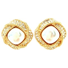 20th Century Pair Of Gold Faux Pearl & Austrian Crystal Earrings By, Napier