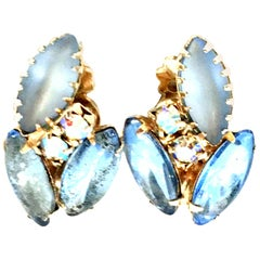 20th Century Pair Of Gold & Frosted Austrian Crystal Abstract Earrings