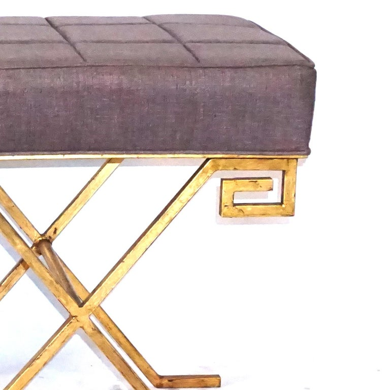 Art Deco 20th Century French Pair of Gold Iron Benches by Jean Michel Frank